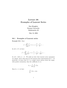 Lecture 38: Examples of Laurent Series