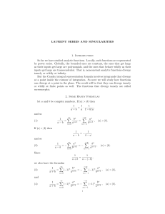 LAURENT SERIES AND SINGULARITIES 1. Introduction So far we