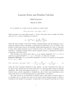 Laurent Series and Residue Calculus