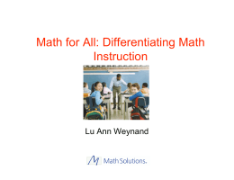 Math for All: Differentiating Math Instruction