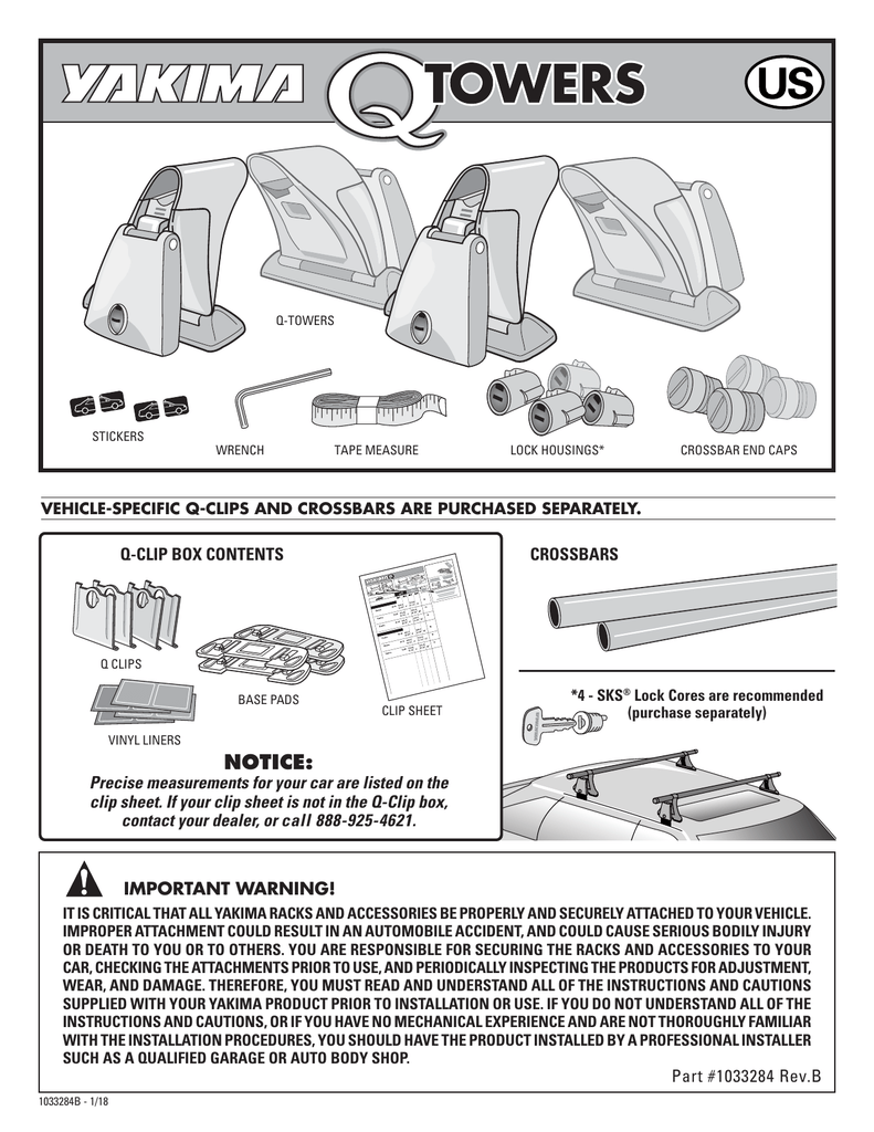 yakima q towers roof rack installation instructions