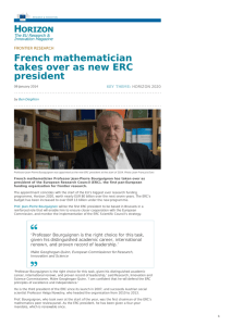 French mathematician takes over as new ERC president