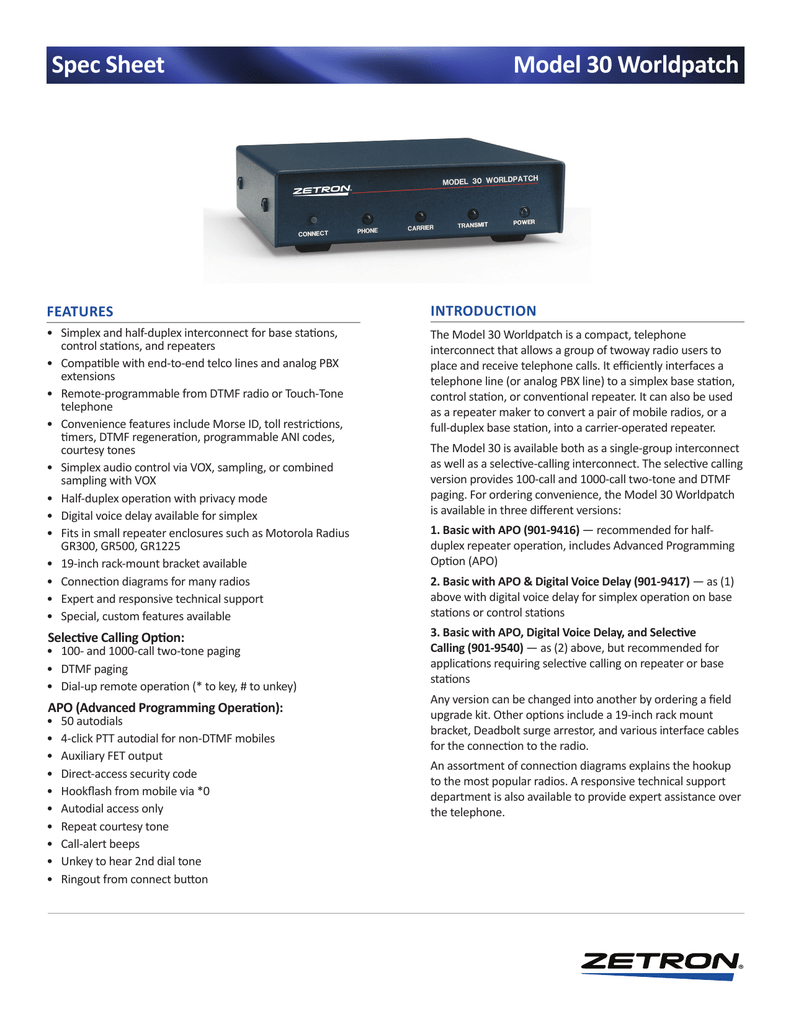 Model 30 Worldpatch Spec Sheet Basic Vox Circuit Controls Ptt