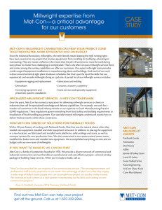 Millwright expertise from Met-Con—a critical advantage for our