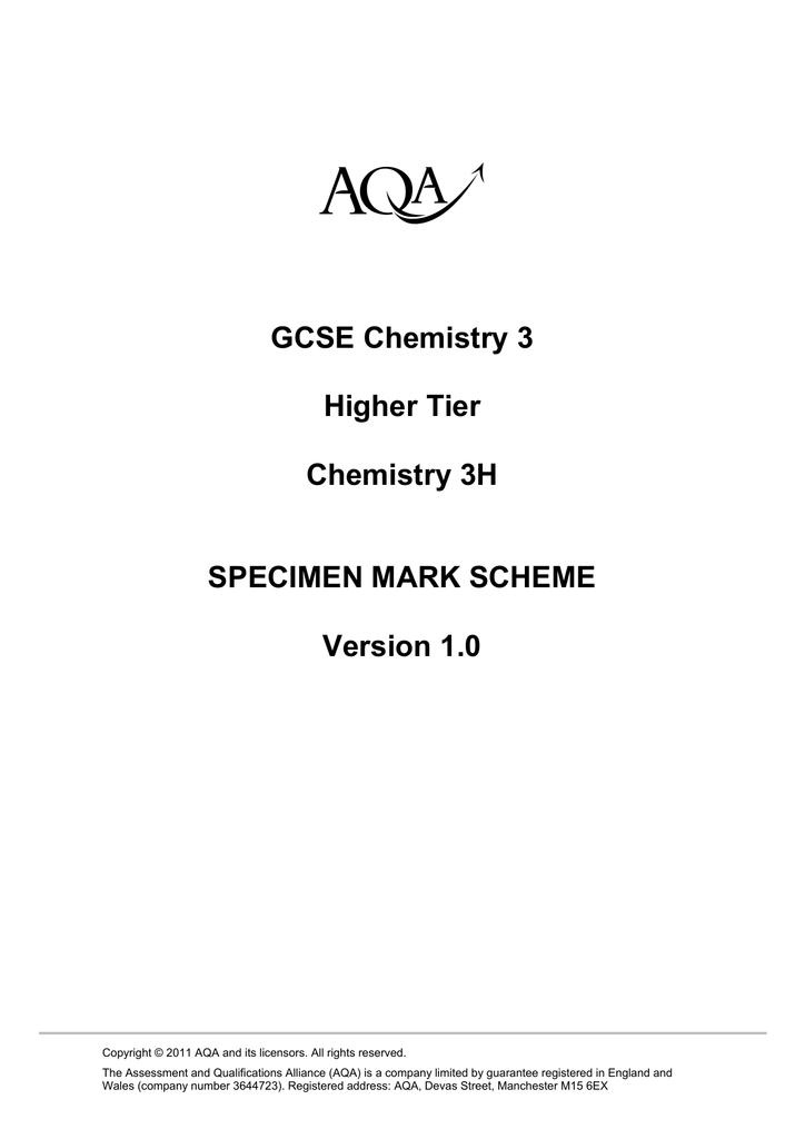 GCSE Chemistry Specimen Mark Scheme Higher Specimen