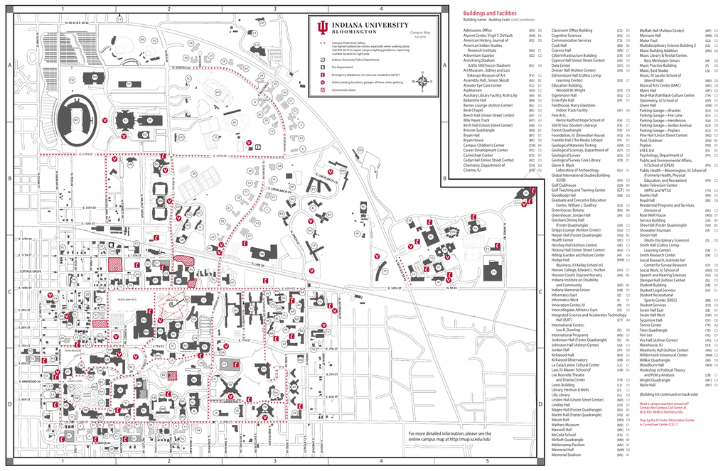 IUB Campus Map Fall 2016 Front Indiana University Bloomington
