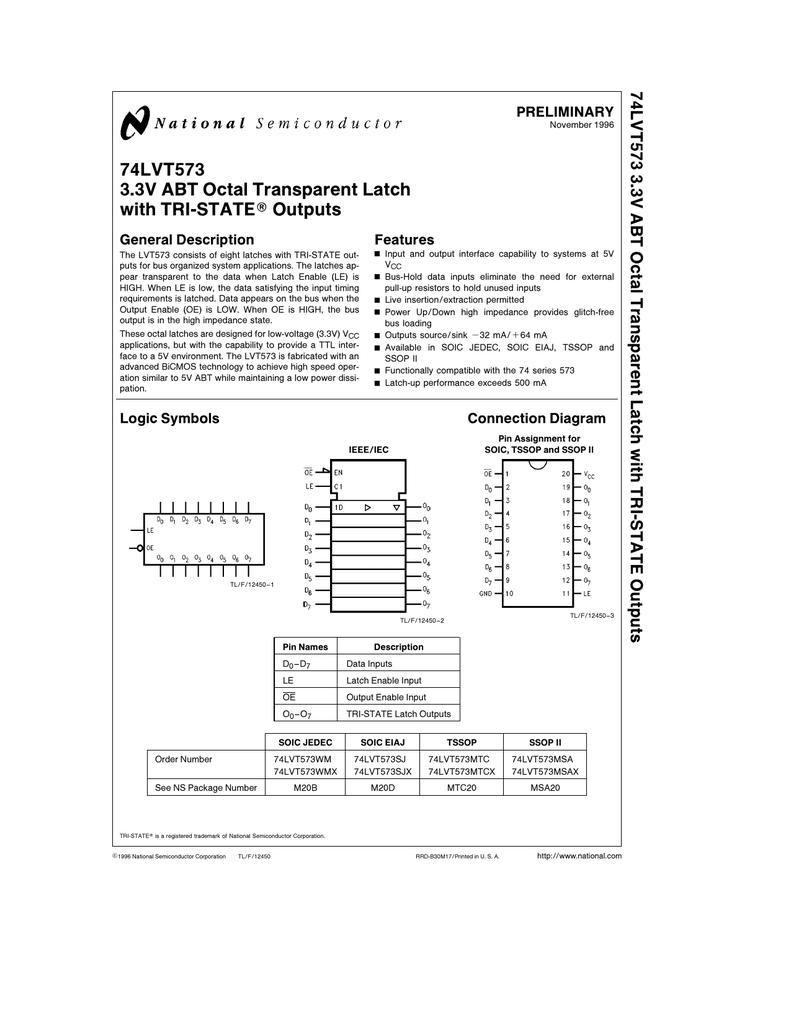 74lvt573 33v Octal Transparent Latch With Tri