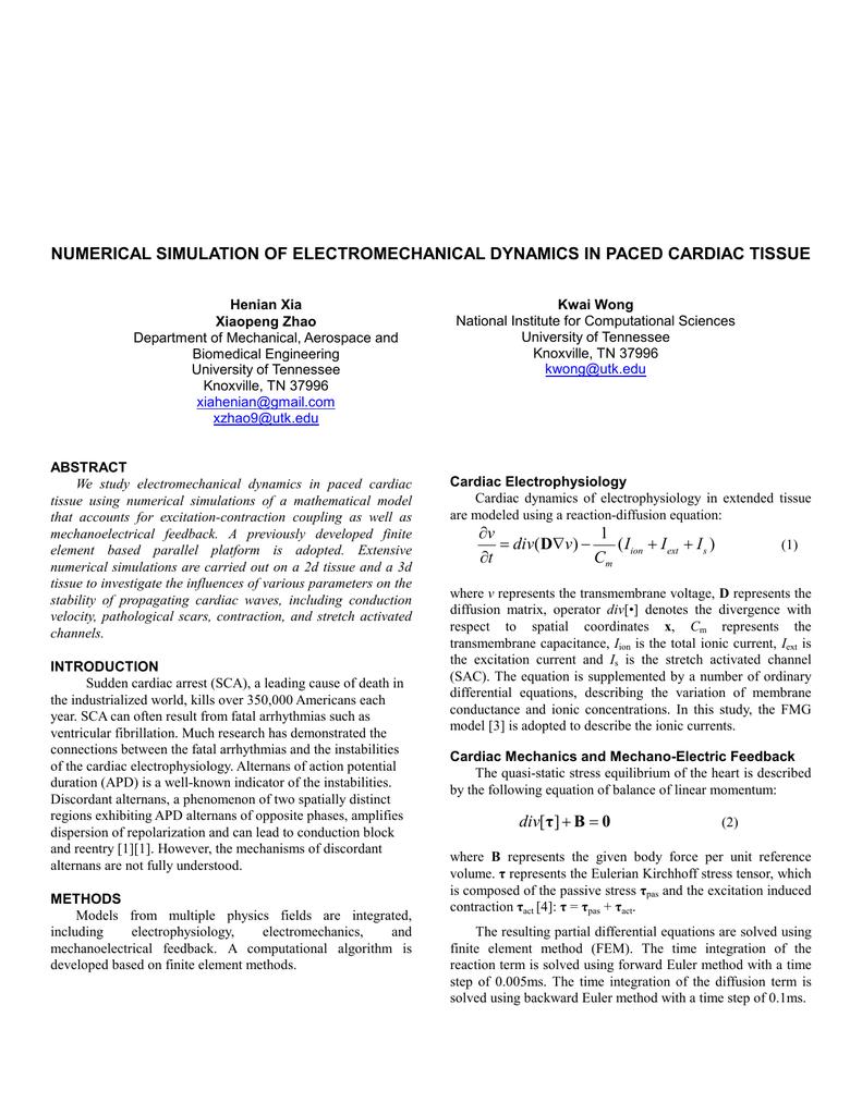 NUMERICAL SIMULATION OF ELECTROMECHANICAL