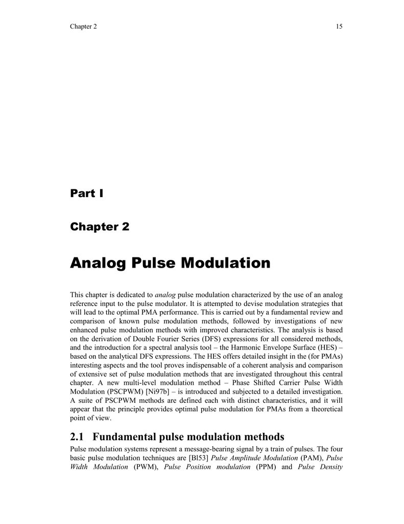 Chapter 2, Analog Pulse Modulation Methods
