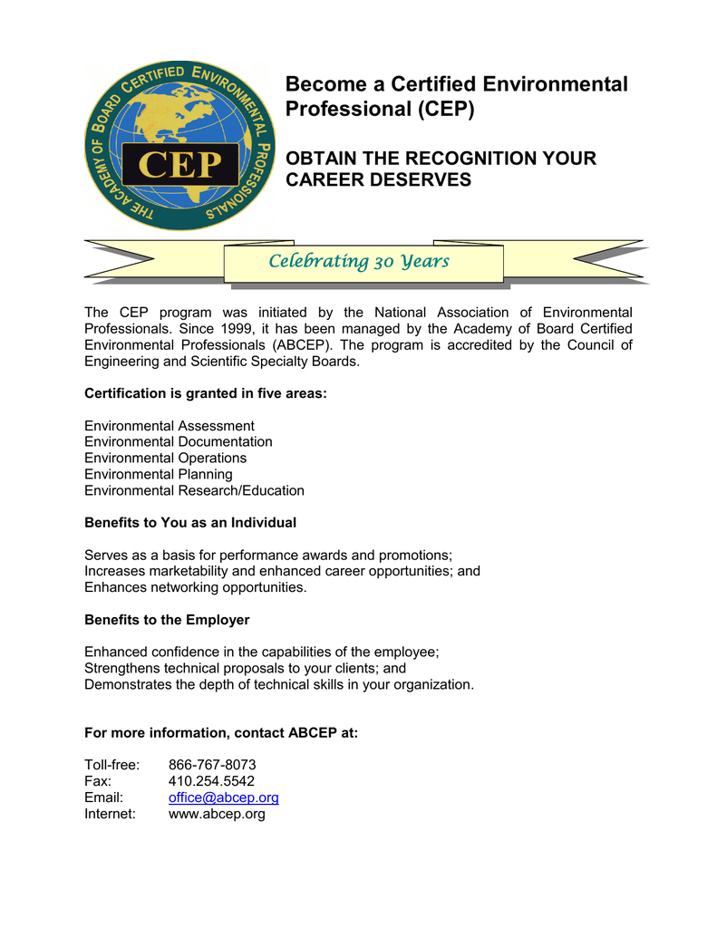 Become A Certified Environmental Professional Cep