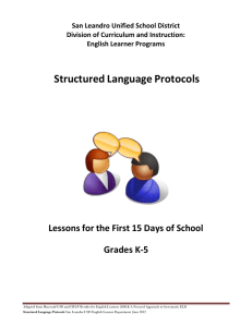 Structured Language Protocols - San Leandro Unified School District