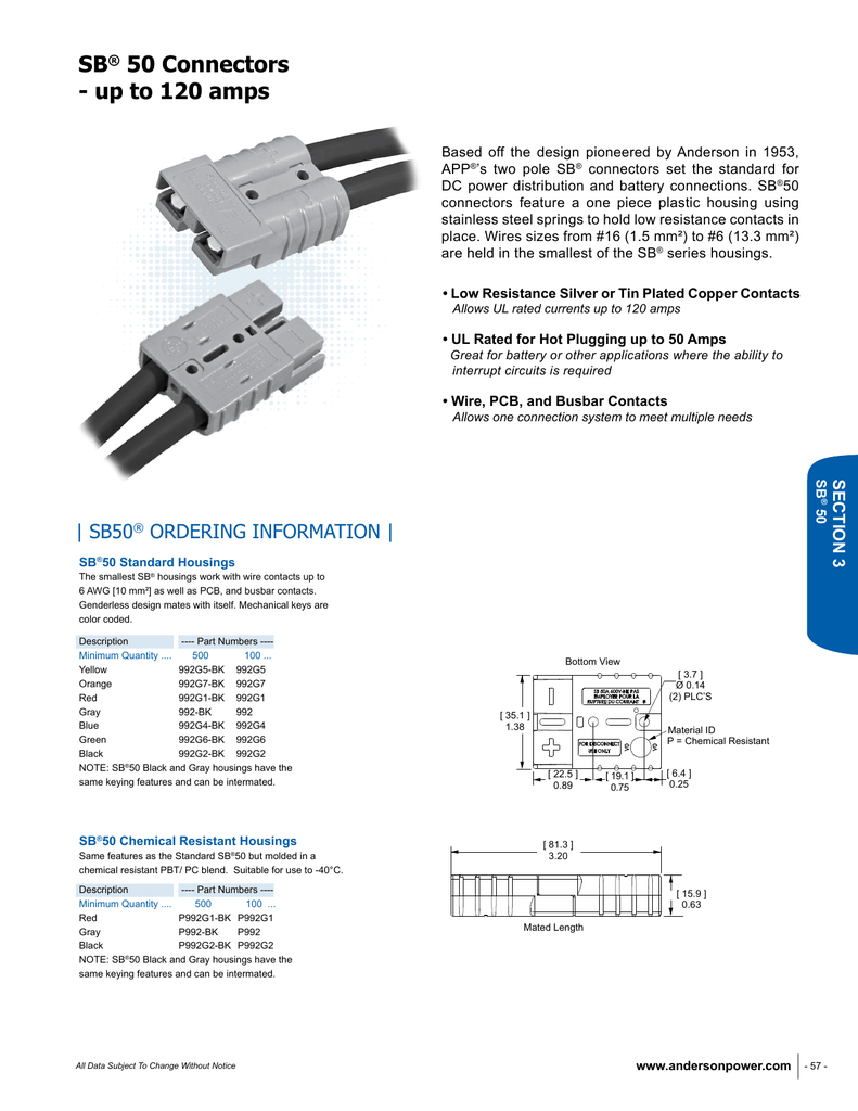 SB50 Data Sheet - Anderson Power Products
