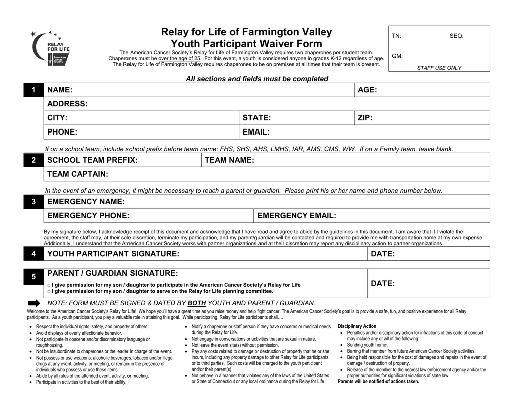 Relay for Life of Farmington Valley Youth Participant Waiver Form