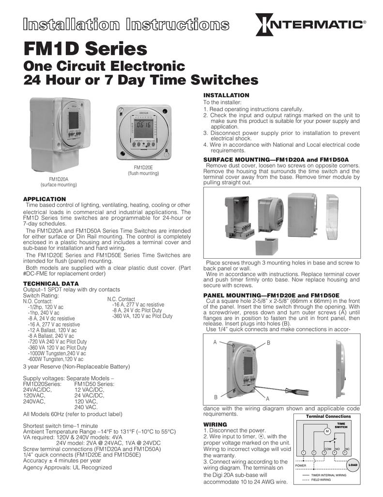 Fm1d Series Intermatic 110v Plug Wiring Diagram In