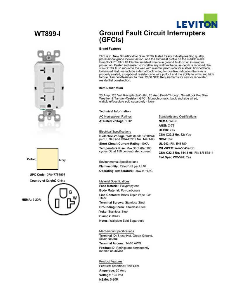 Leviton Gfci Schematic Wiring Data Wiring Diagrams Source. WT899 ...