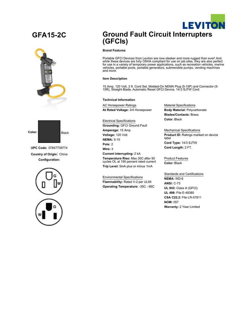 Gfa15 2c Ground Fault Circuit Interrupters Gfcis Interrupter Wiring