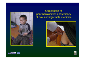 Comparison of pharmacokinetics and efficacy of oral and injectable