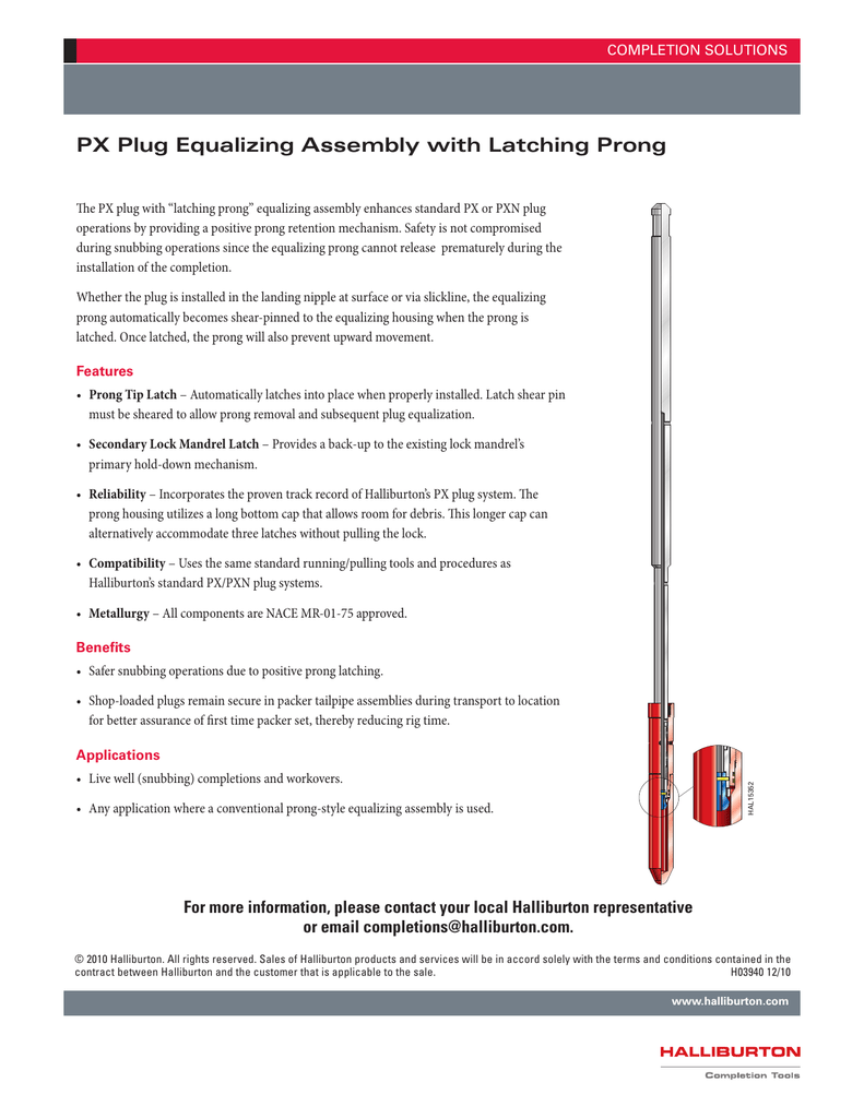 H03940 PX Plug Equalizing Assembly with Latching Prong