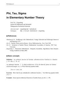 Phi, Tau, Sigma in Elementary Number Theory