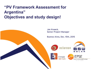 """PV Framework Assessment for Argentina"" Objectives and study"
