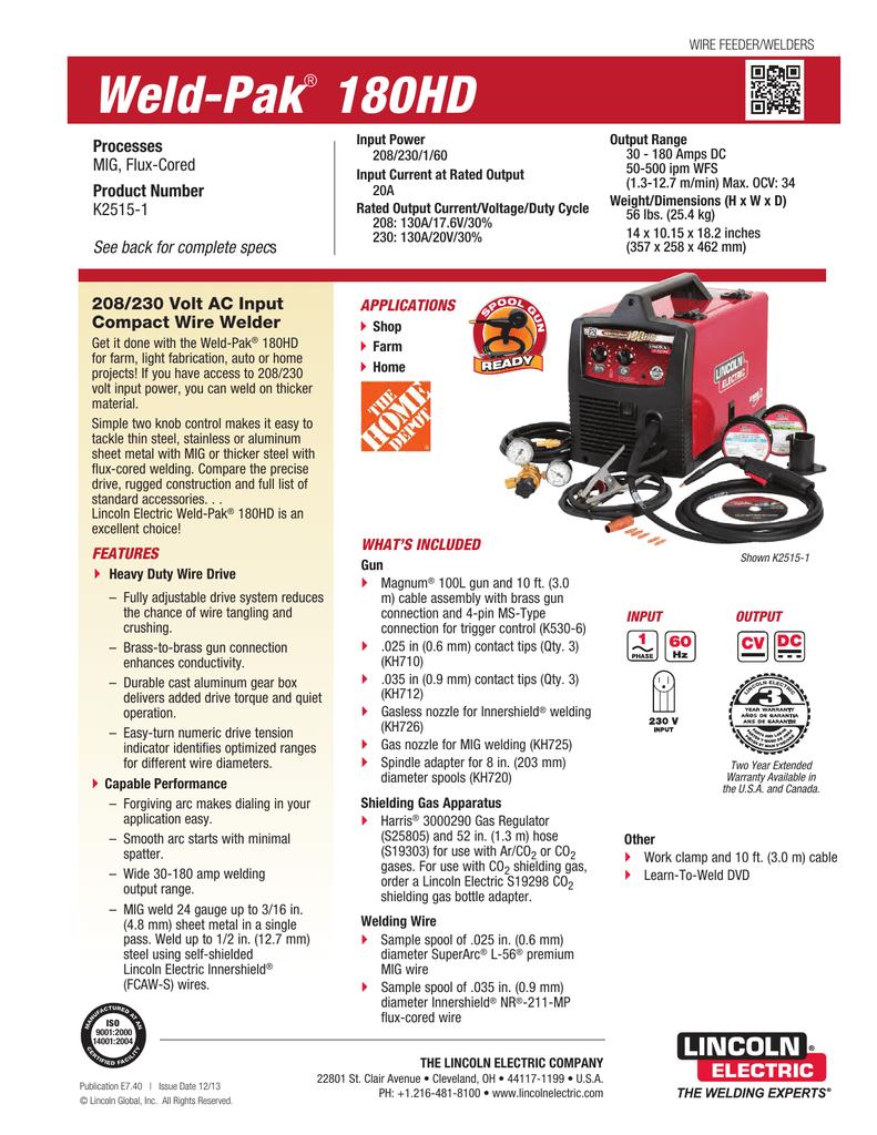Weld-Pak 180HD Product Info