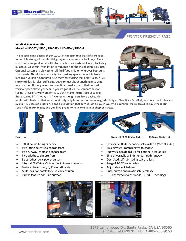 BendPak Four-Post Lift Model(s) HD-9ST / HD-9 / HD