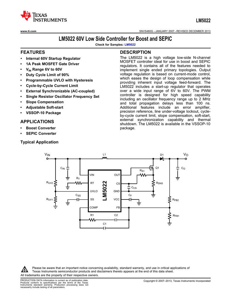LM5022 60V Low Side Controller for Boost and