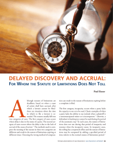 delayed discovery and accrual - The Bar Association of San Francisco
