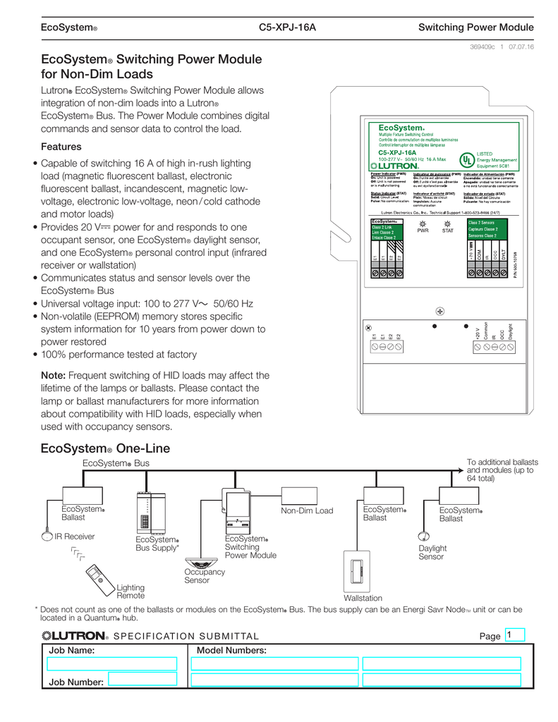 lutron ecosystem ballast wiring diagram ecosystem switching power module for non dim loads spec  ecosystem switching power module for