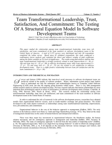 Team Transformational Leadership, Trust, Satisfaction, And