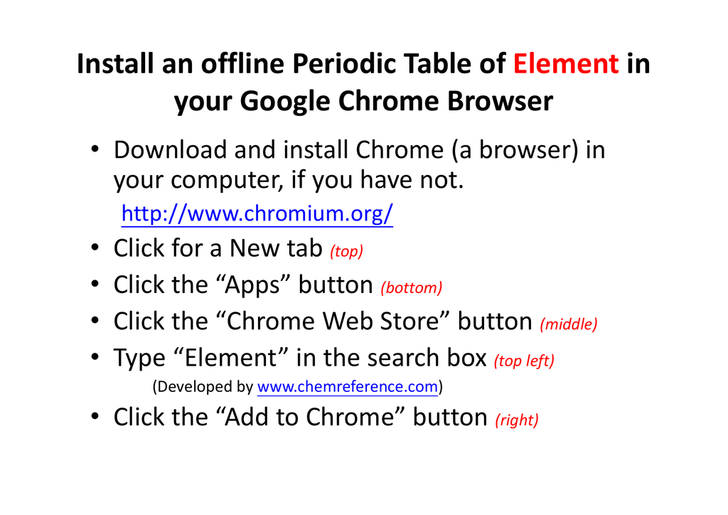 Install an offline periodic table of element in your google chrome urtaz Gallery