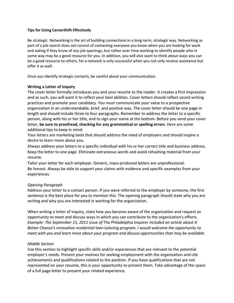 Job Inquiry Cover Letter from s2.studylib.net