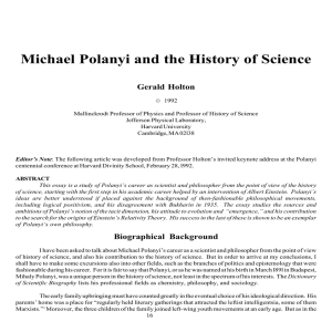 Michael Polanyi and the History of Science