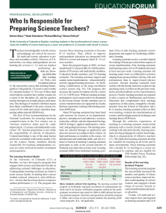 Who Is Responsible for Preparing Science Teachers?