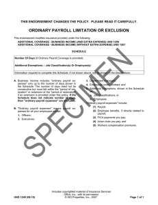ordinary payroll limitation or exclusion