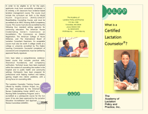 Certified Lactation Counselor ( CLC )