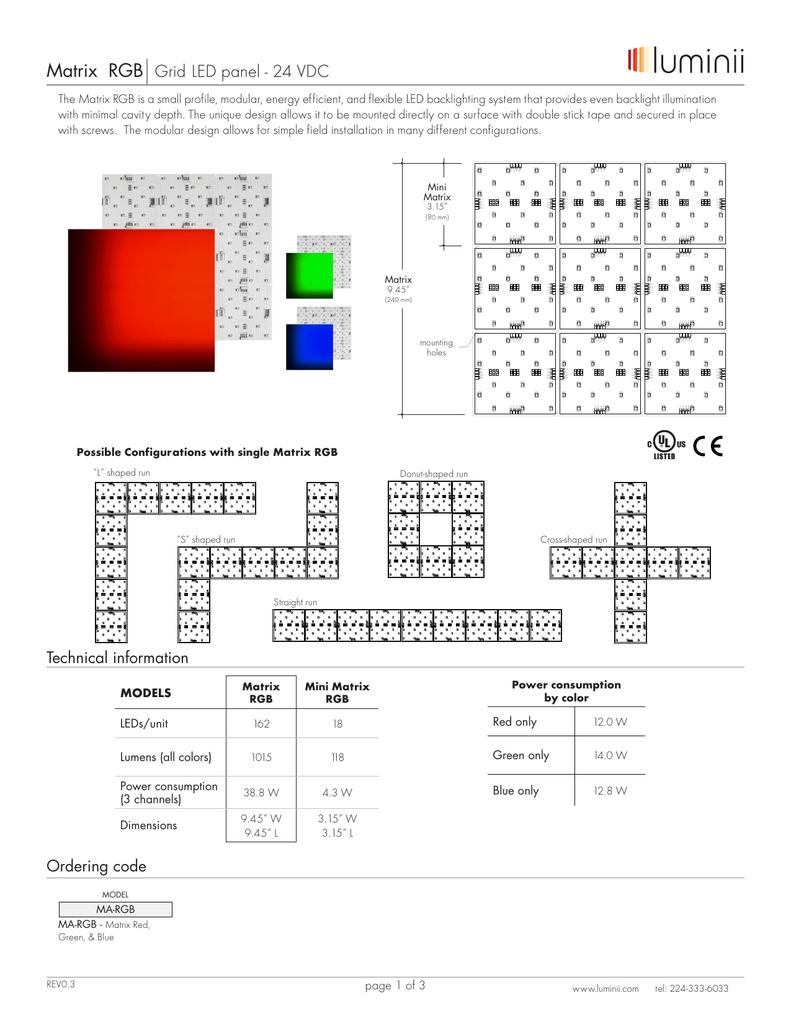 Matrix RGB Grid LED panel - 24 VDC