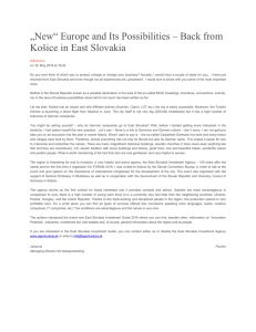 """New"" Europe and Its Possibilities – Back from Košice in East Slovakia"