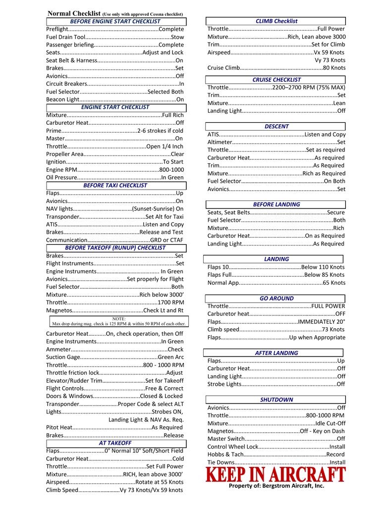 C 172 In Flight Checklist Cessna 152 Navigation Light Wiring Diagram