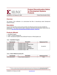 Product Discontinuation Notice for Development Systems