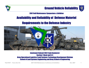 Availability and Reliability of Defense Materiel Requirements to the