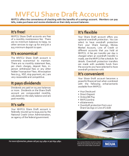 MVFCU Share Draft Accounts - Matanuska Valley Federal Credit