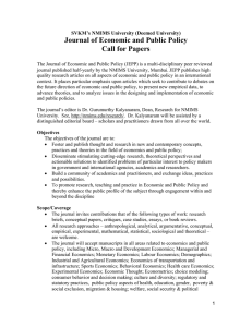 Journal of Economic and Public Policy Call for Papers
