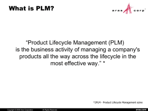 PLM Value Presentation - Product Life Cycle Management Information