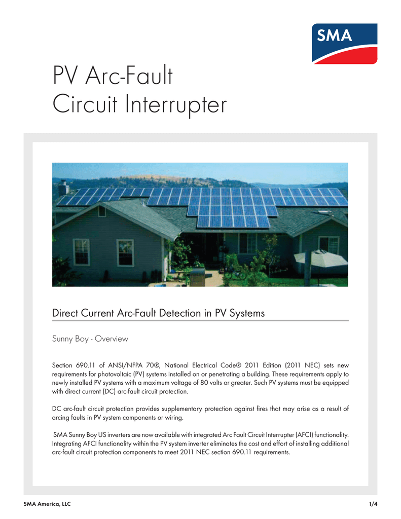 Pv Arc Fault Circuit Interrupter Residential Electrical Fires Arcfault Interrupters Afcis