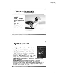 Lecture 01: Introduction Syllabus overview