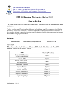 ECE 331S Analog Electronics (Spring 2015) Course Outline