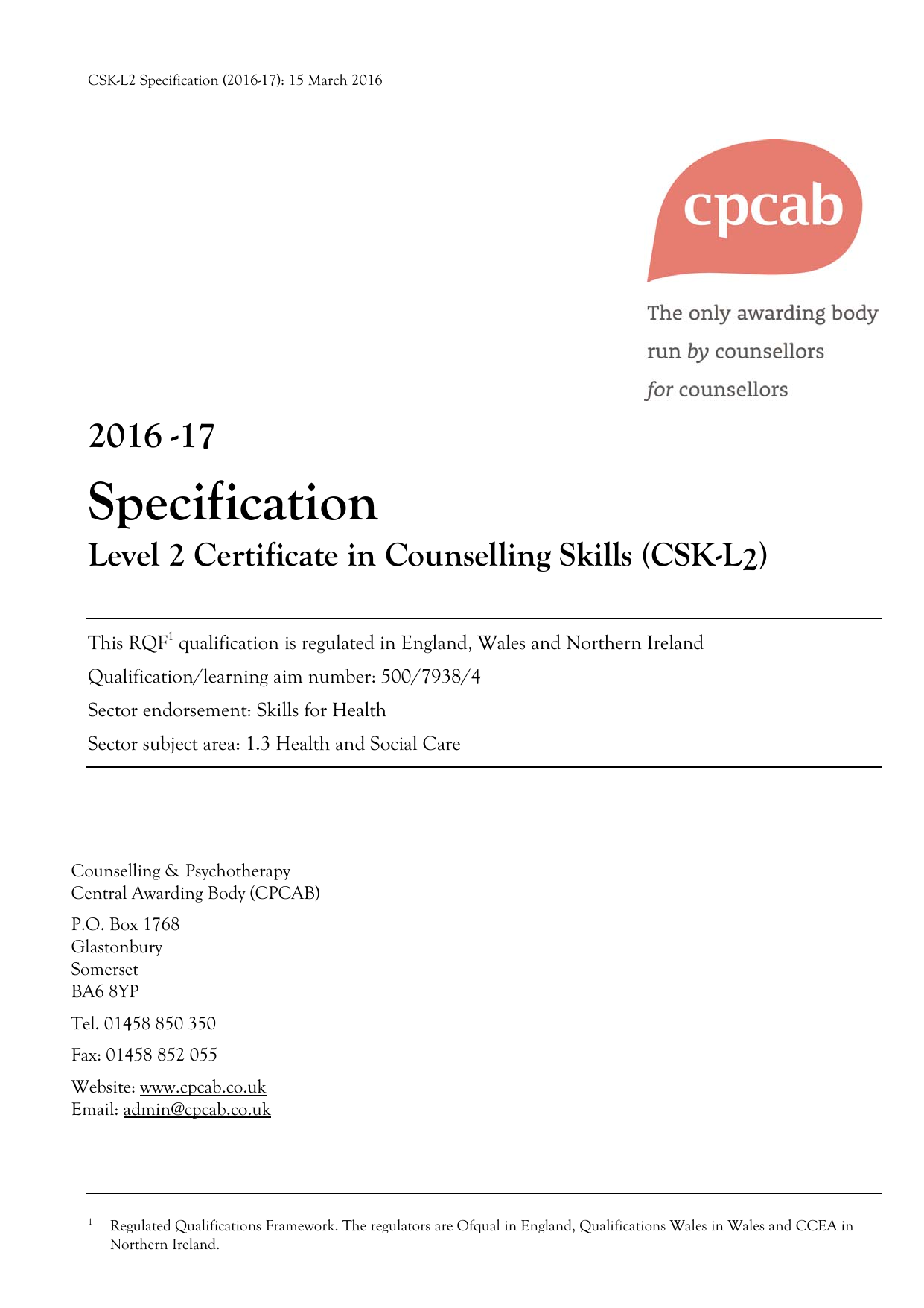 specification level skills counselling certificate csk l2 march
