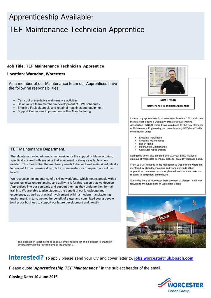 Apprenticeship Available: TEF Maintenance Technician Apprentice