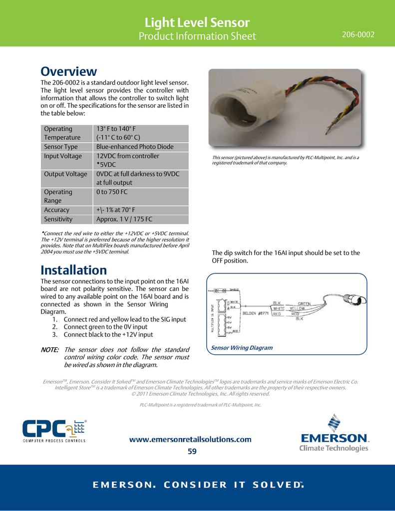 Light Level Sensor Emerson Climate Technologies Wiring Photosensorphotocellpng